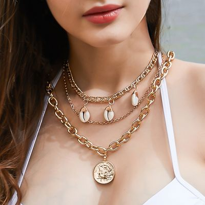 Shells and Coin Pendants Multi-layered Chunky Chain Necklace