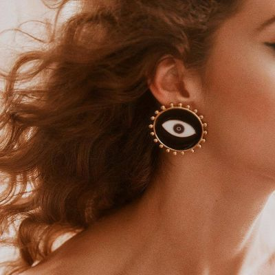 Round Evil Eyes Big Stud Earrings for Party