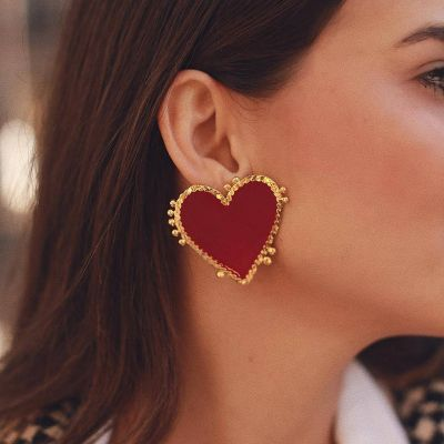 Red Heart Big Studded Earrings for Wedding