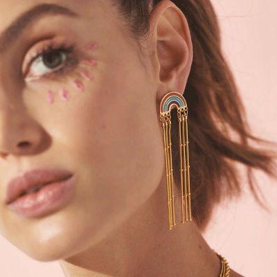 Rainbow Tassel Drop Earrings Boho Cute Earring