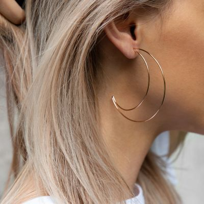 Moon Big Hoop Earring Geometric Earring for Wedding