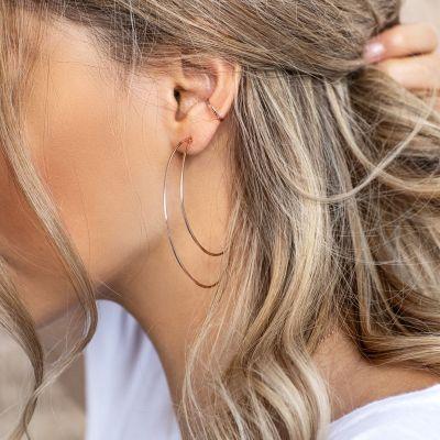 Moon Big Hoop Earring Geometric Earring for Wedding
