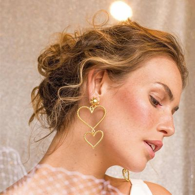 Double Heart Drop Earring Fashion Statement Earring