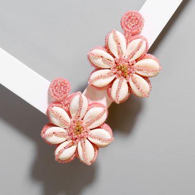 Flower Beaded Shell Dangle Earrings Bohemian Statement Earring