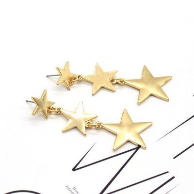 Triple Stars Drop Linear Earrings Fashion Women Earrings