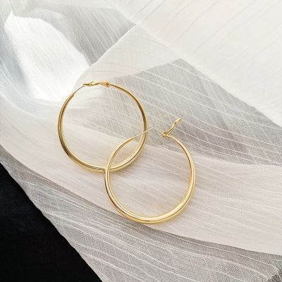 Vintage Matted Gold Big Hoop Earrings with S925 Pins