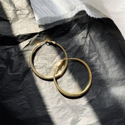 Vintage Gold Big Hoop Earrings with S925 Pins Woman Party Earrings