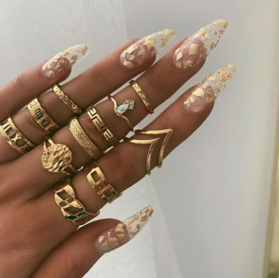 12 Pcs Ring Set Vintage Water Drop Zirconia Geometric Midi Rings in Gold