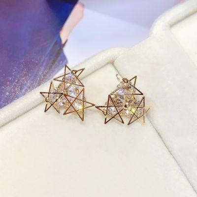 Gold Stars Stud Earring Cute Girl Earrings