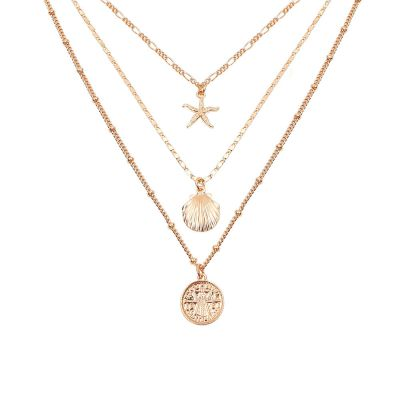 Gold Star with Sea Shell Layered Necklace Set
