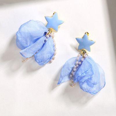 Flower Pendant Earring Star Pearls Summer Earring