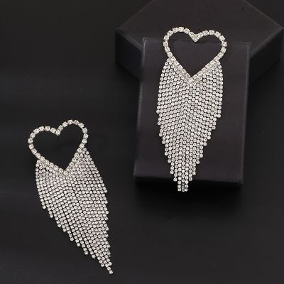 Rhinestones Heart Tassel Big Stud Earrings Statement Earring