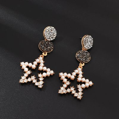 Hollow Out Star Pearls Dangle Earring for Party