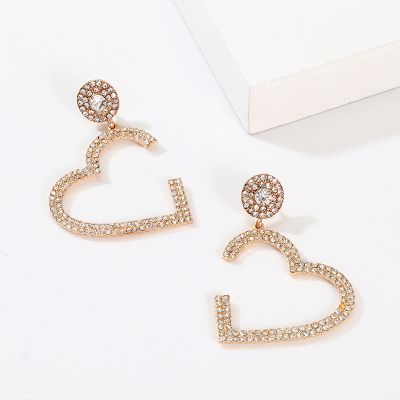 Big Heart Hollow Rhinestones Drop Earring Bridal Earrings