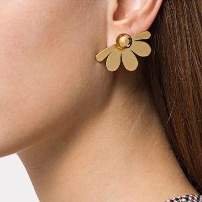 Fashion Fan Flower Ear Stud Clip on Earrings
