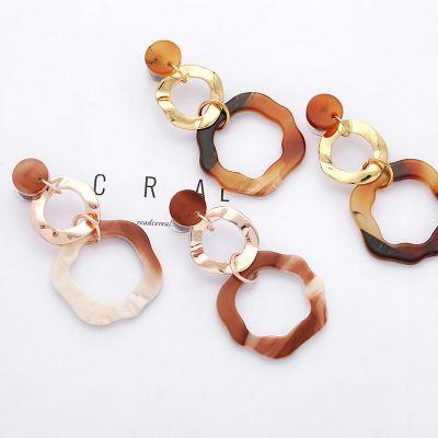 Trendy Acrylic Marble Pattern Dangle Earrings Resign Earring