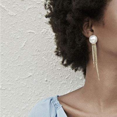 Sweet Pearl Tassel Earrings Woman Statement Earring