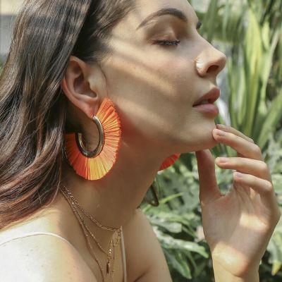 Large Fan Tassel Hoop Earrings Boho Statement Earring