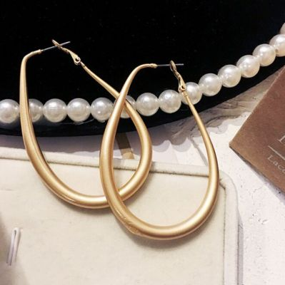 Vintage Golden Plated Oval Big Hoop Earring Statement Earrings