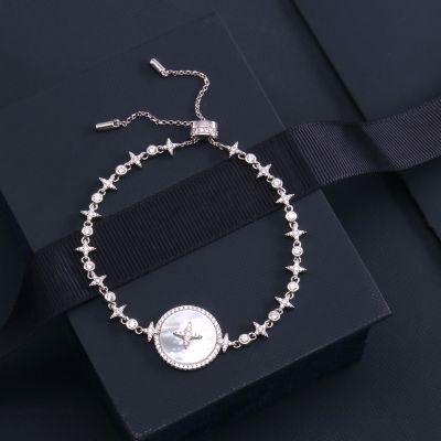 S925 Silver Star Rhinestones Natural Shell Pendant Bracelets Gift Jewelry
