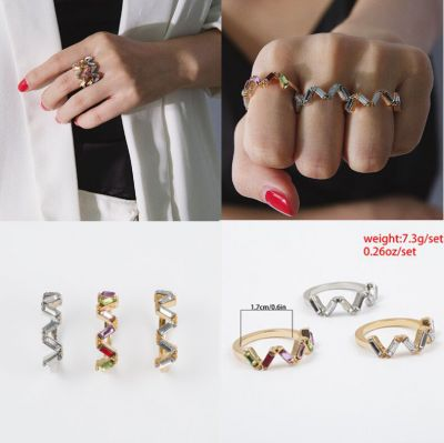 Rainbow Zirconia V-shape Rings Set 3PCs Birthday Jewelry Gift