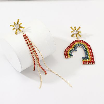Rainbow Heart Mismatched Earring Rhinestones Long Earrings