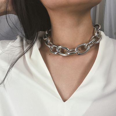 Punk Choker Chain Geometric Necklace Bracelet Set