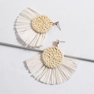 Round Straw Woven Fan Tassel Earrings Hoop Earring