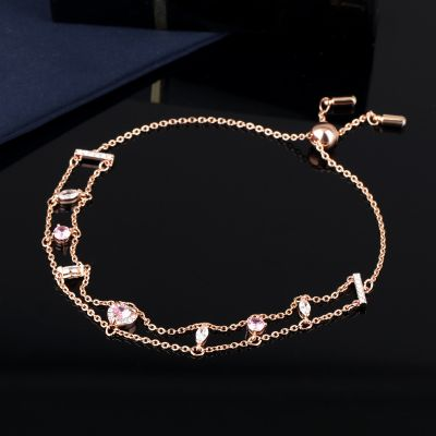 Pink Crystals Heart Layered Chain Bracelet Gift for Her