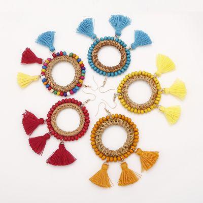 Anti-allergic Rattan Beaded Tassel Drop Boho Dangle Earrings