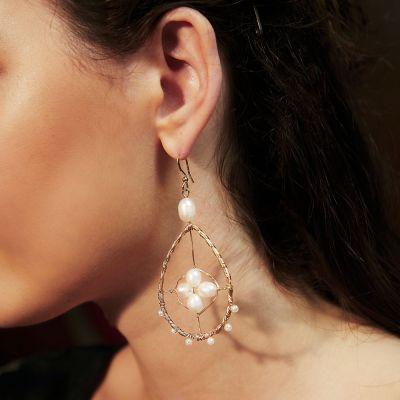 Oval Pearls Drop Hook Dangle Earrings for Date
