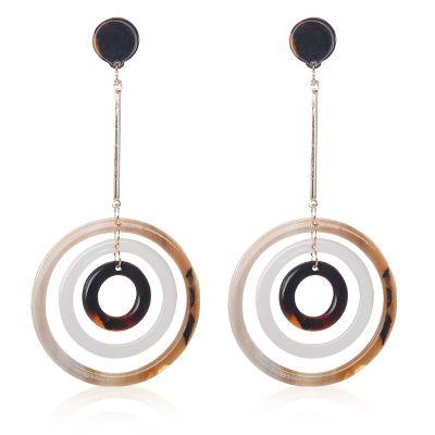 Acrylic Triple-Circle Drop Earrings Vintage Woman Earring