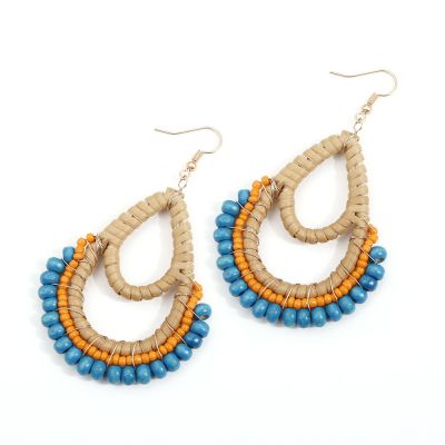Oval Rattan Woven Beach Earrings Bead Drop Dangle Earrings
