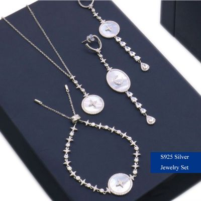 S925 Silver Rhinestones Star Shell Jewelry Set Earrings&Necklace Set