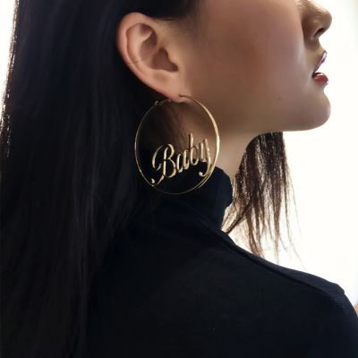 Alloy Big Hoop Earrings Hollow Letter Earrings for Party