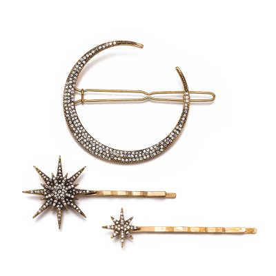 Vintage Rhinestones Moon Star Hair Clips Set Bridal Hair Pins 3 Pack