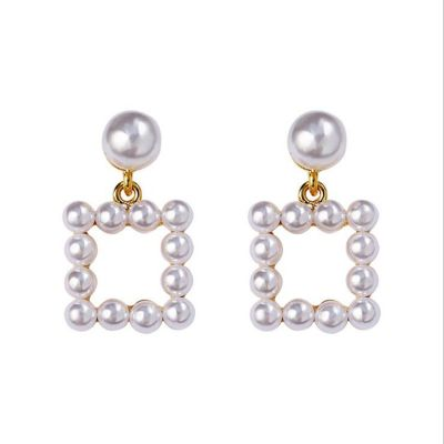 Pearls Geometric Cute Dangle Earrings Small Woman Earring