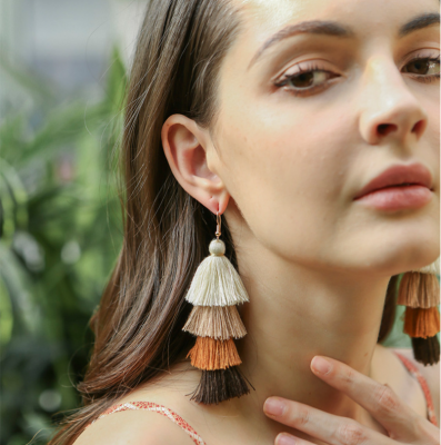 Colorful Layered Tassel Earring Bohemia Long Dangle Earrings