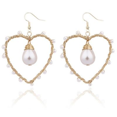 Heart Pearls Drop Earrings Hook Dangle Earring for Date