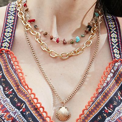 Acrylic Necklace Shell Charm Layered Chain Necklace