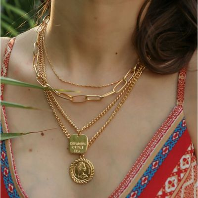 Gold Bohemian Layered Chain Necklace Pendant Necklace