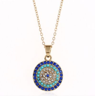 Round Blue Rhinestones Alloy Bridal Jewelry Sets