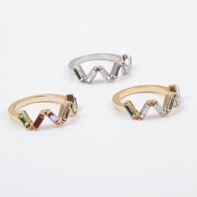 Rainbow Zirconia V-shape Rings Set 3PCs Birthday Jewelry Gift