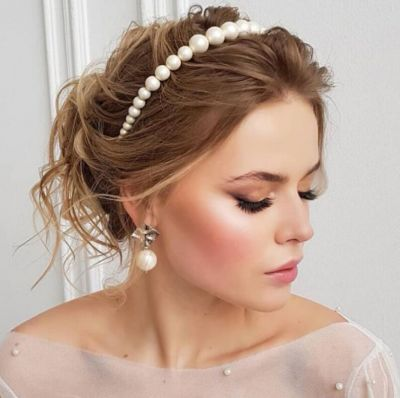 Simple Pearls Headband Beaded Bridal Hair Band