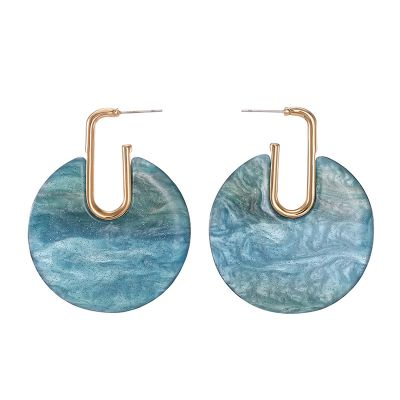 Round Marble Effect Acrylic Drop Earrings for Work