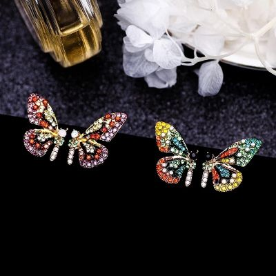 Butterfly Rhinestones Stud Earrings and Necklace Cute Jewelry Sets