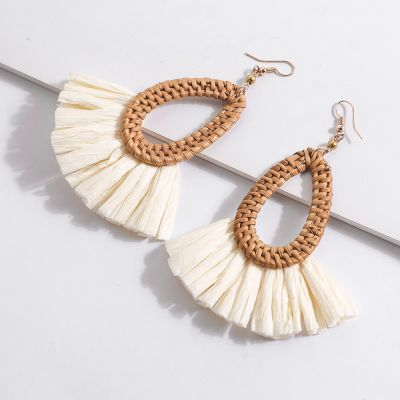 Anti-allergic Hook Rattan Braid Raffia Drop Fan Earrings