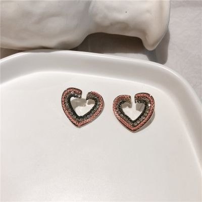 Hollow-out Heart Rhinestones Stud Earring Gifts for Girlfriend