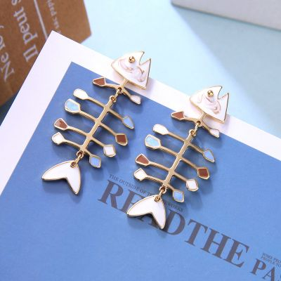 Colorful Fish Bone Cute Stud Earring Birthday Gift Jewelry