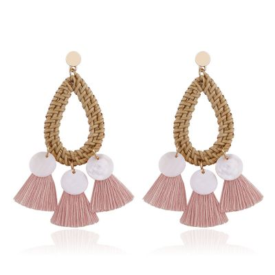 Straw Woven Shell Tassel Drop Dangle Earrings